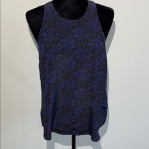 Joie silk floral navy lace sides high neck tank
